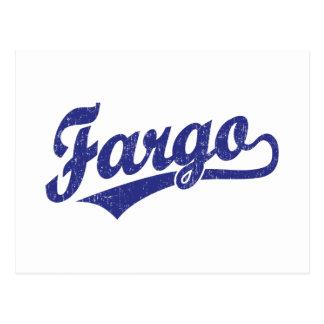 Carte Postale Logo de manuscrit de Fargo dans le bleu