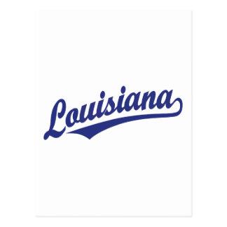 Carte Postale Logo de manuscrit de la Louisiane dans le bleu