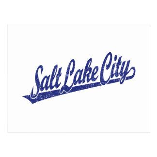 Carte Postale Logo de manuscrit de Salt Lake City dans le bleu