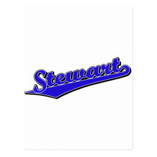 Carte Postale Logo de manuscrit de Stewart dans le bleu