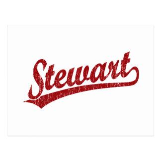 Carte Postale Logo de manuscrit de Stewart en rouge