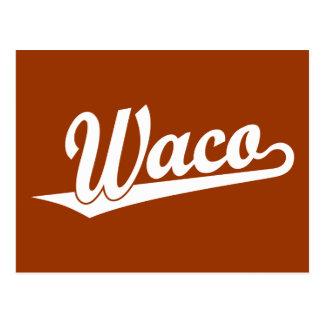 Carte Postale Logo de manuscrit de Waco dans le blanc