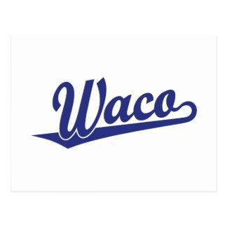 Carte Postale Logo de manuscrit de Waco dans le bleu