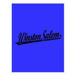Carte Postale Logo de manuscrit de Winston-Salem dans le noir