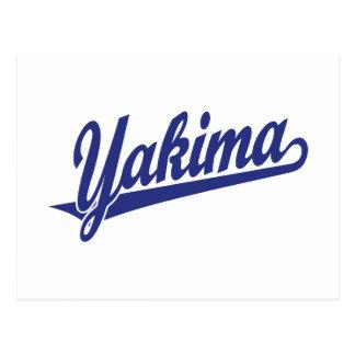 Carte Postale Logo de manuscrit de Yakima dans le bleu