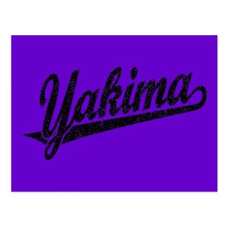 Carte Postale Logo de manuscrit de Yakima dans le noir affligé