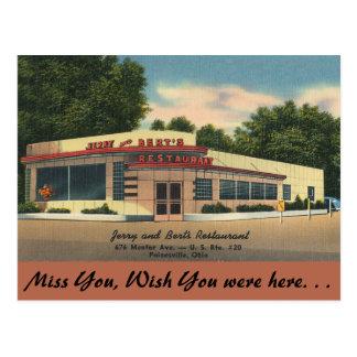 Carte Postale L'Ohio, Jerry et le restaurant de Bert,