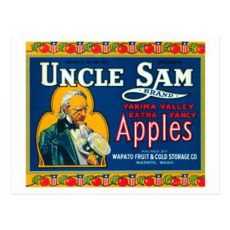 Carte Postale L'Oncle Sam Apple marquent (bleu) - Wapato, WA
