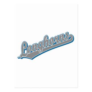 Carte Postale Longhorns dans bleu et gris