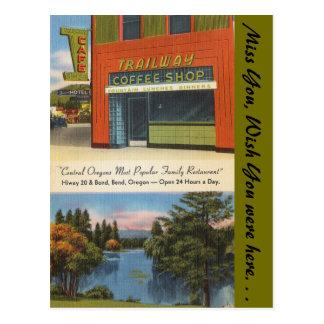 Carte Postale L'Orégon, café-restaurant de Trailway, courbure