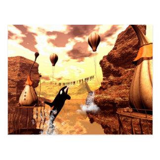 Carte Postale L'orque saute pour un poisson, un monde imaginaire