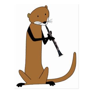 Carte Postale Loutre jouant la clarinette