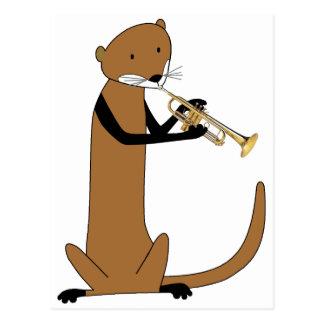 Carte Postale Loutre jouant la trompette