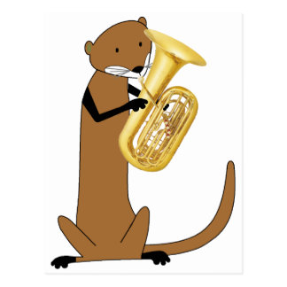 Carte Postale Loutre jouant le tuba
