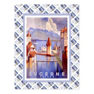 Carte Postale Lucerne ferroviaire suisse vintage Suisse