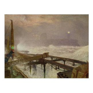 Carte Postale Lumières bleues, pilier de Teignemouth - allumage