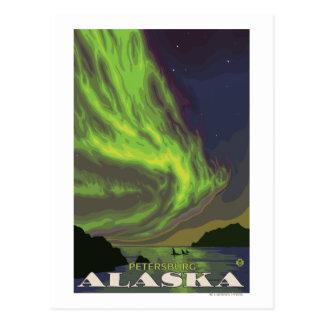 Carte Postale Lumières du nord et orques - Pétersbourg, Alaska