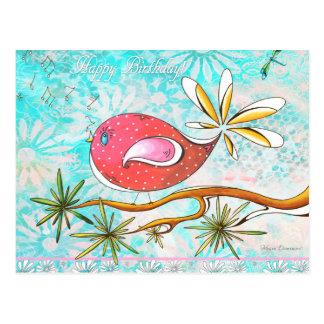 Carte postale lunatique d'oiseau de joyeux