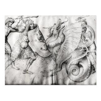 Carte Postale Luttez entre les guerriers et un dragon, c.1450