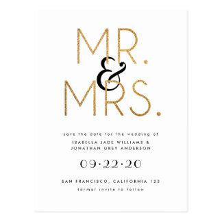 Carte Postale M. et Mme Save The Date noir, de blanc et d'or