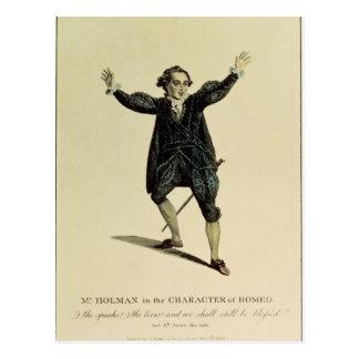 Carte Postale M. Holman dans le caractère de Romeo, pub. 1784