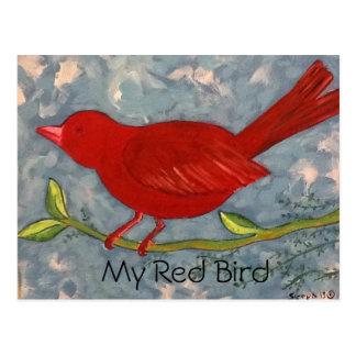 Carte Postale Ma peinture acrylique d'oiseau rouge