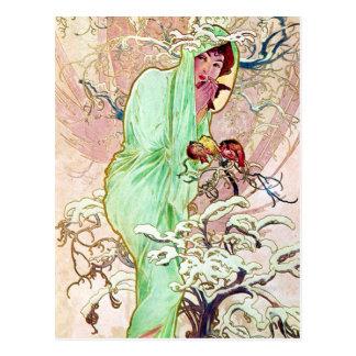 Carte Postale Madame In Green Cape Postcard d'Alphonse Mucha