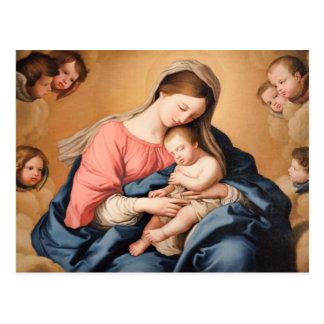 Carte Postale Madonna avec l'enfant et les anges