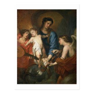 Carte Postale Madonna et enfant avec des anges