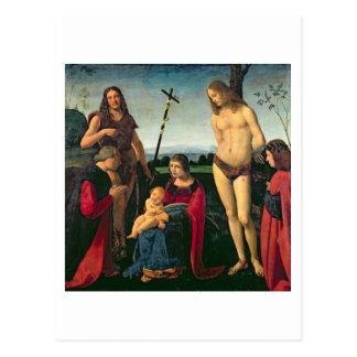 Carte Postale Madonna et enfant avec des solides solubles.