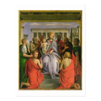 Carte Postale Madonna et enfant avec huit saints, 1520s (humeur