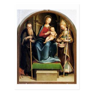 Carte Postale Madonna et enfant avec l'abbé et le St N de St