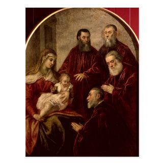 Carte Postale Madonna et enfant avec quatre hommes d'état