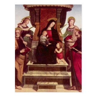 Carte Postale Madonna et enfant couronnés avec des saints par