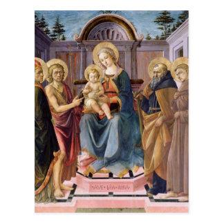 Carte Postale Madonna et enfant couronnés avec des solides
