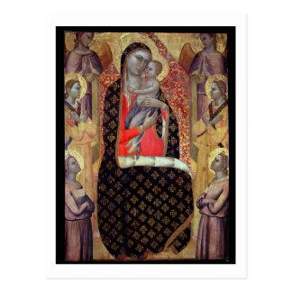 Carte Postale Madonna et enfant couronnés avec six anges
