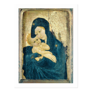 Carte Postale Madonna et enfant, école de la Bourgogne (huile