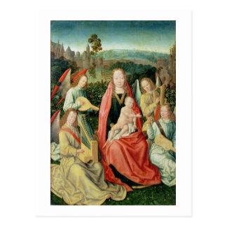 Carte Postale Madonna et enfant entourés par des anges