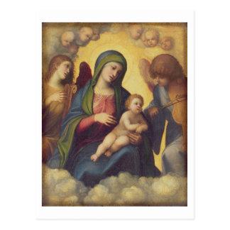 Carte Postale Madonna et enfant et enfant dans la gloire, c.1520