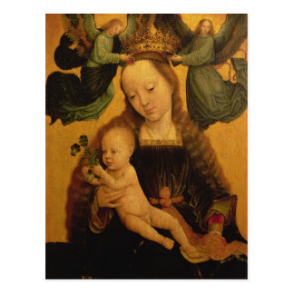 Carte Postale Madonna et l'enfant ont couronné par deux anges,