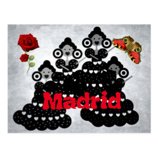 Carte Postale Madrid Espagne. roses, Flamand et papillons