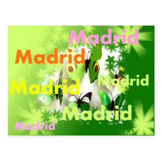 Carte Postale Madrid printemps inondation couleurs et papillons