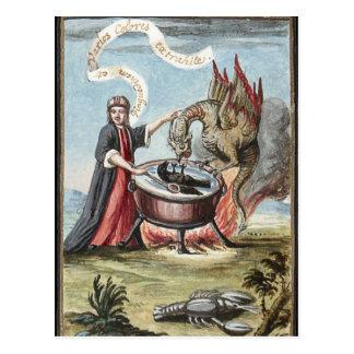 Carte Postale Magicien et dragon au chaudron de l'alchimie
