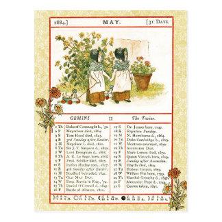 Carte Postale Mai 1884 almanach.  Gémeaux, les jumeaux