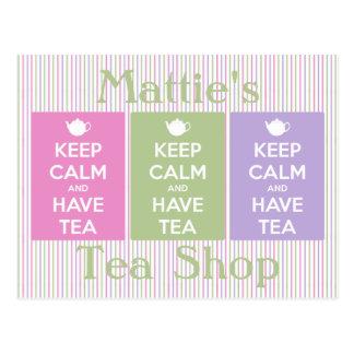 Carte Postale Maintenez calme et ayez le collage de thé