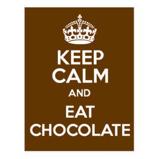 Carte Postale Maintenez calme et mangez du chocolat