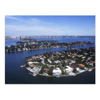 Carte Postale Maisons privées d'île de baie de Biscayne, étoile