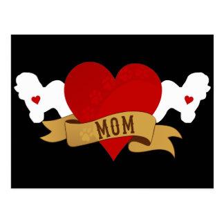 Carte Postale Maman de Bichon Frise [style de tatouage]
