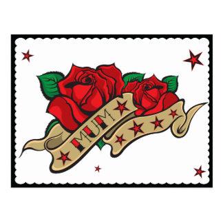 Carte Postale Maman rose de tatouage