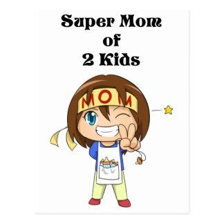 Carte Postale Maman superbe de 2 enfants